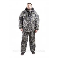 "Winter suit for hunting and fishing ""Pixel green"" - polyurethane impregnation, waterproof"