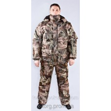 "Winter suit for hunting and fishing camouflage ""Moss"" - a guarantee of quality, fabric is frost-resistant, velvety"